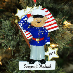 Personalized Marines Bear Ornament