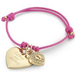 Pink Friendship Bracelet with Gold Heart Charm