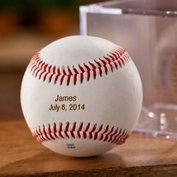 Personalized Leather Baseball and Acrylic Case