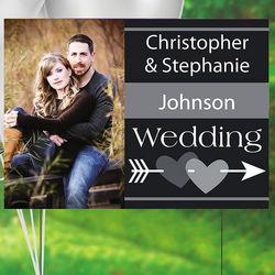 Custom Photo Arrow and Hearts Wedding Yard Sign