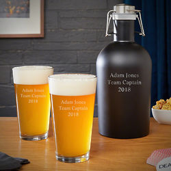 Personalized Stainless Steel Growler and 2 Pint Glasses