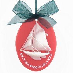 Sail Boat Coral Ornament