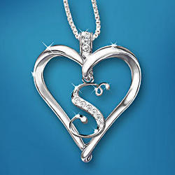 Love Letter Heart Shaped Diamond Initial Pendant