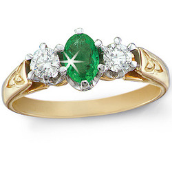 14 kt. Gold Diamond and Emerald Ring