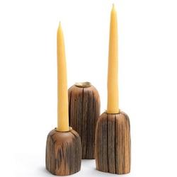 3 Piece American Chestnut Candleholder Set