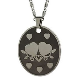 Joined Hearts Engravable Couples Tag Necklace