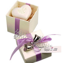 Twin Bells Heart Soap Favor Box