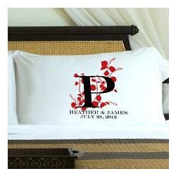 Personalized Red Natures Bliss Pillow Case Set