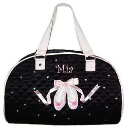 Personalized Black Satin Ballerina Dance Bag