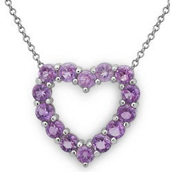 Amethyst Sterling Silver Heart Pendant