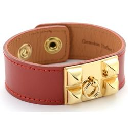 Italian Red Leather Pyramid Stud Cuff Bracelet