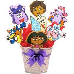 Dora the Explorer Shortbread Cookie Bouquet