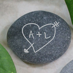 Engraved Heart and Arrow Stone