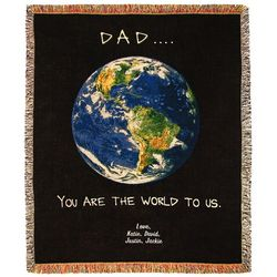 Dad World Tapestry Throw