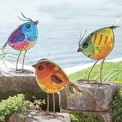 Colorful Iridescent Glass Bird Statues