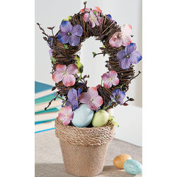 Potted Faux Easter Wreath