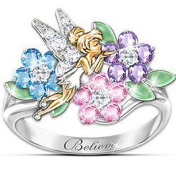Disney's Tinker Bell Floral Simulated Gemstone Engraved Ring