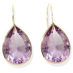 14k Gold Pear Shaped Amethyst Earrings