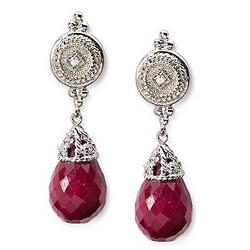 Ruby Briolette Earrings with Diamond Accent in 14k White Gold