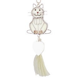 Engravable Stained Glass Kitty Ornament Sun Catcher