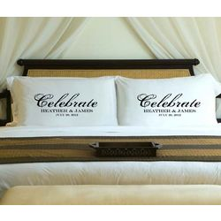 Personalized Black Celebrate Pillow Case Set