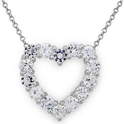 White Topaz Sterling Silver Heart Pendant