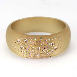 Wide Frosted Slip-On Bangle Bracelet with Crystals