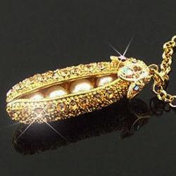 Gold Pea Pod Pendant Necklace