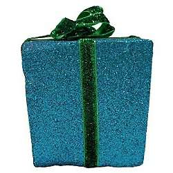 Brighten The Season Blue Glitter Gift Box Ornament