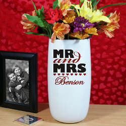 Personalized Mr and Mrs Ceramic Vase