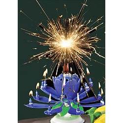 Musical Fireworks Blue Happy Birthday Candle