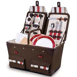 Pioneer Canvas Picnic Basket for 2 in Moka