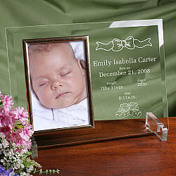 In the Beginning New Baby Beveled Glass Picture Frame