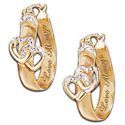 Love Always Diamond Hoop Earrings with Hearts
