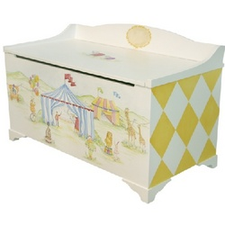 Big Top Circus Stripes Hand Painted Toy Box