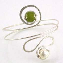 Peridot Green and Pearl Eco-Friendly Sterling Silver Bangle