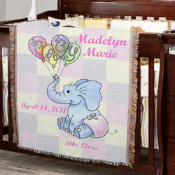 Personalized Baby Girl Elephant Blanket