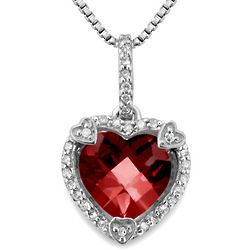 Garnet and Diamond Sterling Silver Heart Pendant Necklace