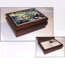 Cherry Wood Music Box with Tile of Boston Ducklings