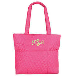 Personalized Quilted Diaper Bag in Hot Pink
