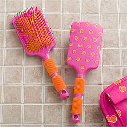 Pink and Orange Paddle Hair Brush