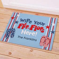 Personalized Wipe Your Flip Flops Here Stars Doormat