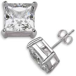 Sterling Silver 9mm Square Princess-Cut Cubic Zirconia Studs