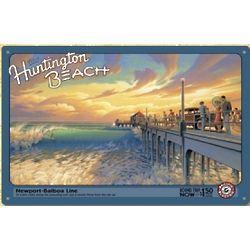 Antique Huntington Beach Print Metal Sign