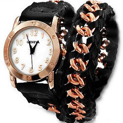 Leather and Rose Gold Wrap Around Watch