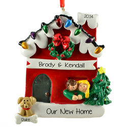 Couple and Dog Home Christmas Lights Ornament