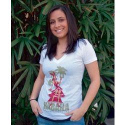 Ladies' White Cuban Rumbera V-Neck T-Shirt