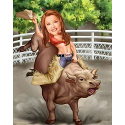 Ride 'em Cowgirl Custom Photo Caricature Art Print