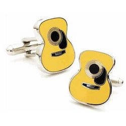 Guitar Yellow and Black Acrylic Cufflinks