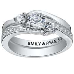 Sterling Silver 2 Piece Engraved Cubic Zirconia Wedding Ring Set